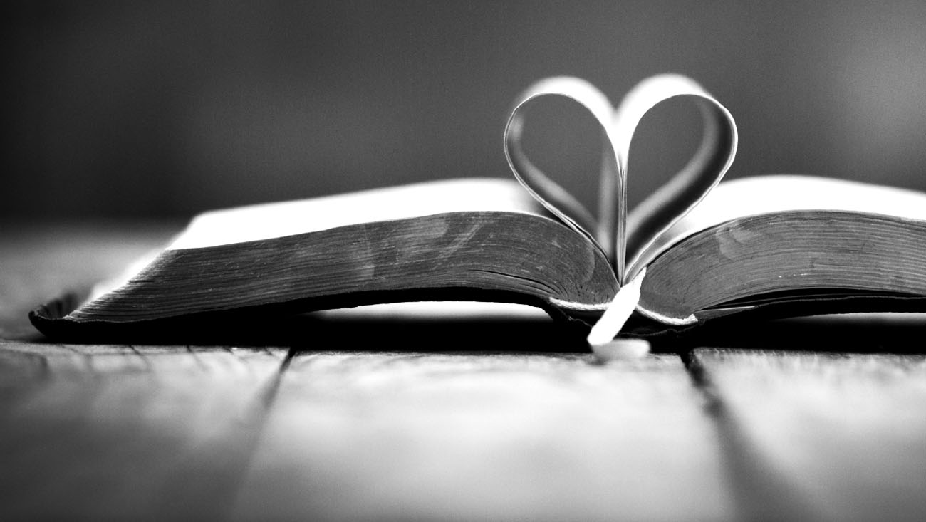 An open book with pages folded into the center forming a heart.